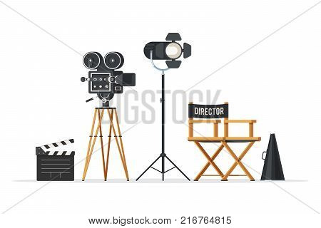 Director chair, movie camera with film reels, searchlight, megaphone and clapperboard. Vintage cinema concept. Vector illustration in trendy flat style design isolated on white background