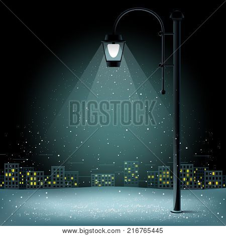 Snow in lamp lights. Christmas snowflakes falls on night city background. Large electric pillar
