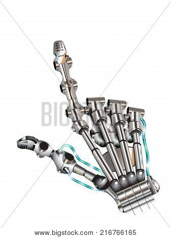illustration of shiny bionic hand pointing with index finger on white background.