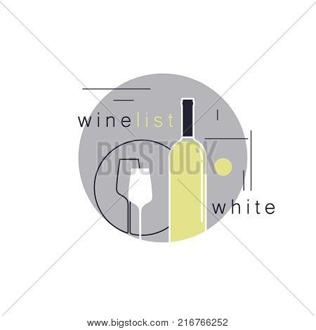 White wine. Bottle and a glass. Icon in modern line style for restaurant menu, tasting, wine list, winery, shop. Vector illustration.