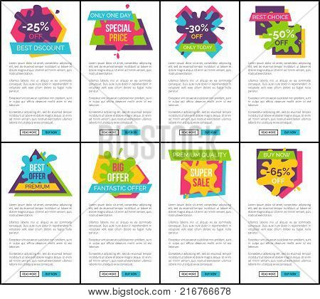 Best discount only one day, special price, fantastic offer, collection of websites consisting of titles, shapes and text, buttons vector illustration