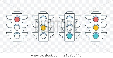 Traffic light. Red, yellow and green traffic light. Travel, leisure. Public road, pedestrian crossing, control over traffic rules. Urban public transport. Vector illustration.