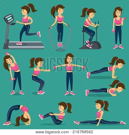 Woman that does physical exercise in sportswear on training apparatus and with jump rope isolated cartoon flat vector illustrations set.
