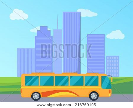 City public transport represented by yellow bus heading down the highway. Vector illustration of vehicle with tall buildings on background