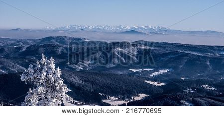 view to Tatra mountain range from Lysa hora hill in Moravskoslezske Beskydy mountains in Czech republic during really cold winter day with clear sky