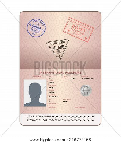 Template of an open passport with stamps, seals. Passport with marks from airport, with watermarks, international travel document, document with visas. Travel, immigration. Vector illustration.