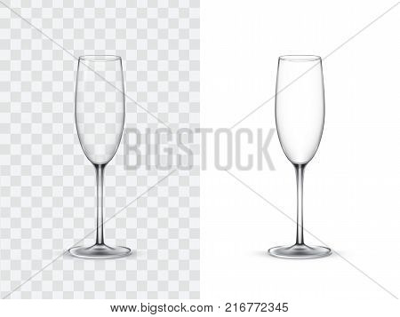 Realistic wine glasses, champagne flute, vector illustration isolated on white and transparent background. Mock up, template of glassware for alcoholic drinks