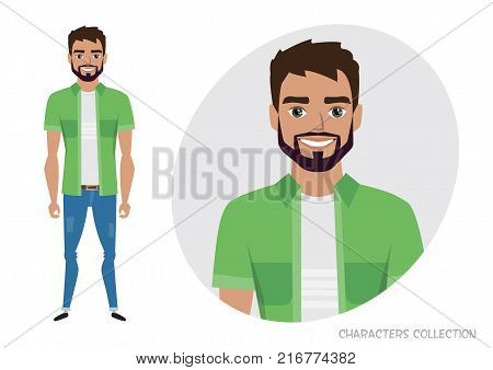 Full length portrait of Cartoon Hipster men. Character for rigging and animation. Vector illustration in a flat style.