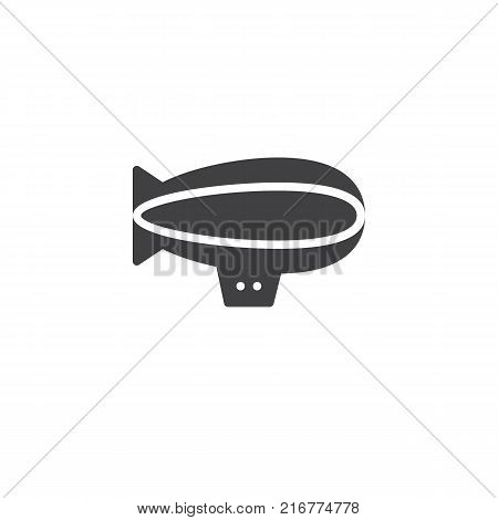 Airship zeppelin icon vector, filled flat sign, solid pictogram isolated on white. Dirigible balloon symbol, logo illustration.
