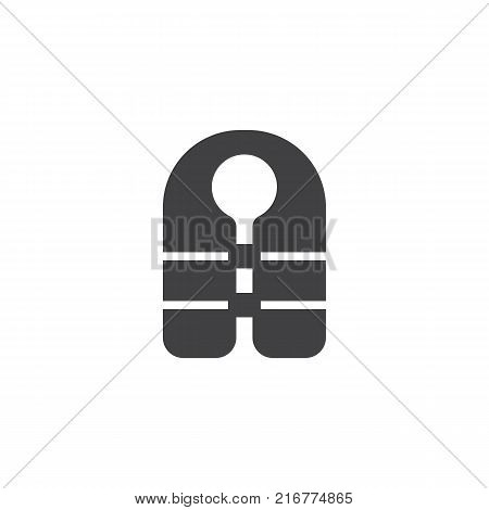 Life jacket icon vector, filled flat sign, solid pictogram isolated on white. Guard vest symbol, logo illustration.
