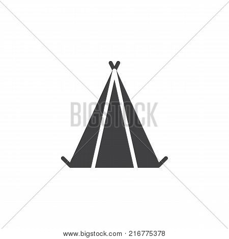 Camping tent icon vector, filled flat sign, solid pictogram isolated on white. Shelter tent symbol, logo illustration.