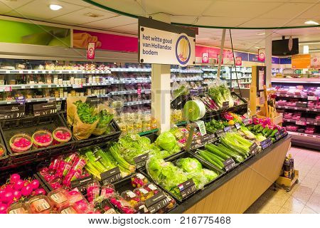NETHERLANDS - OTTERLO - JULY 26 2017: Vegetable and fruit department in an Spar store in the center of Otterlo Netherlands.