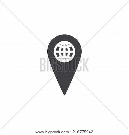 World map pointer icon vector, filled flat sign, solid pictogram isolated on white. Global location symbol, logo illustration.