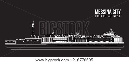 Cityscape Building Line art Vector Illustration design - Messina city