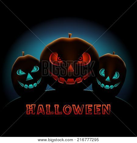 Halloween Holiday congratulationon text message from red and blue glowing pumpkins on dark black background. Scary smiling pumpkin plant faces
