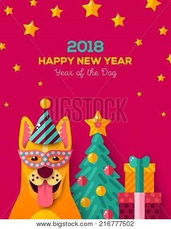 2018 Happy New year carnival night with cheerful yellow dog in carnival mask and cap. Vector illustration. . Christmas tree, stars and gift box on pink background