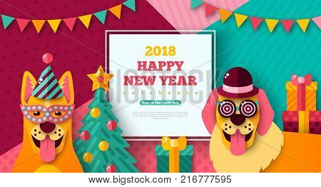 2018 Happy New year carnival with cheerful dogs in carnival masks and caps. Vector illustration. Photobooth party. Christmas treegift box on modern geometric background