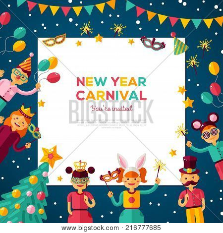 Children New year 2018 carnival party poster. Vector illustration. Happy boys and girls in costume at masquerade. Cartoon characters with square frame, place for you text