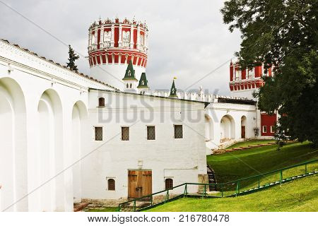 Musketeers at Sentry Naprudnom tower of Novodevichy Convent, Moscow, Russia