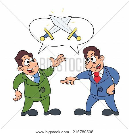 Illustration of the two businessmen arguing with each other