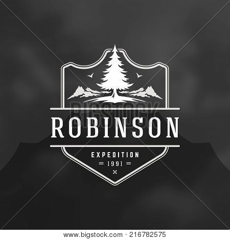 Camping logo emblem vector illustration. Outdoor adventure expedition, pine tree and mountains silhouettes shirt, print stamp. Vintage typography badge design.