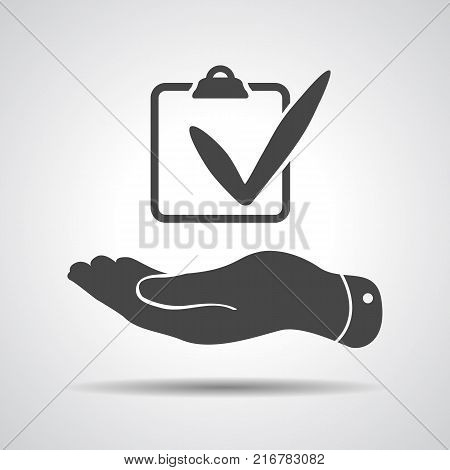 flat hand with chek list icon on a grey background