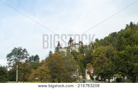 Bran Romania October 09 2017 : Bran Castle - dramatic 14th-century castle former royal residence & alleged legend of Count Dracula inspiration in Bran city in Romania