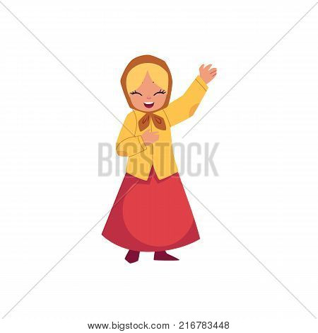 vector flat cartoon children at summer camp concept. Girl in ethnic national clothing headscarf singing or playing role at stage. Isolated illustration on a white background.