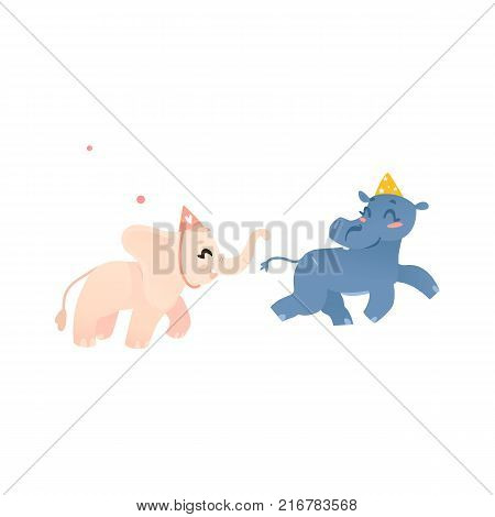 Cute baby hippo and elephant characters in birthday hats playing tag, cartoon vector illustration isolated on white background. Funny hippo and elephant at birthday party, wearing party hat