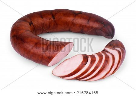 Raw homemade sausages isolated on white Nobody, Horizontal, Isolated, Fresh, Cutout, Beef,