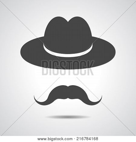 man moustache icon - black hat with mustache isolated on a grey background