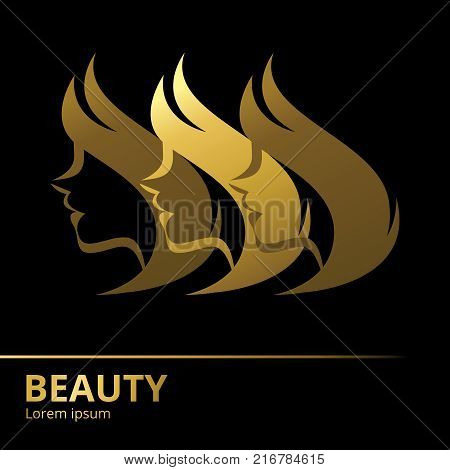 Stylized vector  silhouette of a woman in profile template logo or an abstract concept for beauty salons, hairdressing salon, spa, cosmetics, fashion and beauty industry