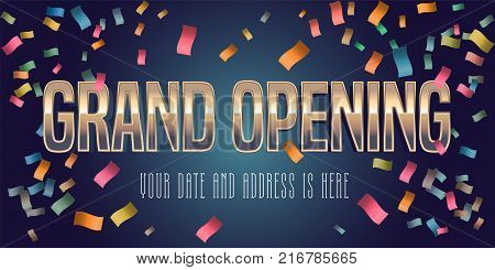Grand opening vector illustration, background with golden lettering sign. Template banner, flyer for opening ceremony