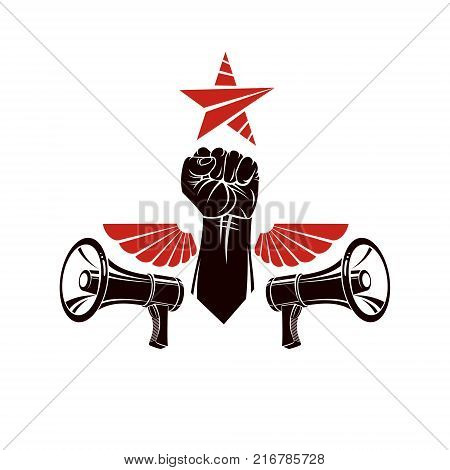 Decorative vector emblem composed with muscular raised clenched fist bird wings and loudspeakers. Power of social message revolution idea symbol can be used as tattoo.