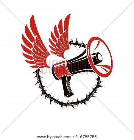 Vector winged illustration composed with loudspeaker equipment surrounded by thorn of crowns. Public relations concept propaganda as a powerful weapon of influence on social behavior.