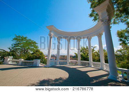 Russia Crimea Sevastopol July 24 2016: white columns of Rotunda