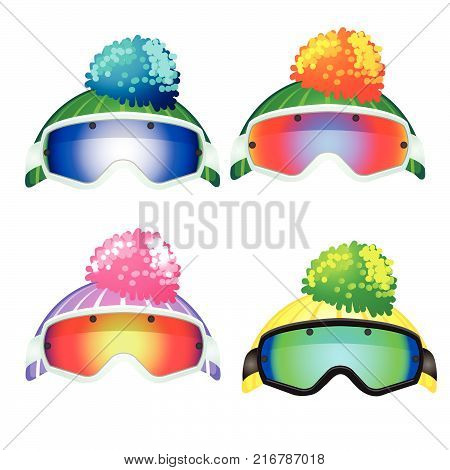 Set of colored goggles of the skier and the knitted hats with pompon isolated on white background. Vector cartoon close-up illustration.