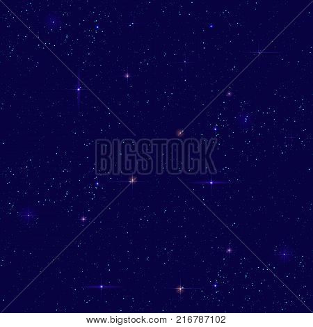 Night starry sky seamless background. Small distant star shines on dark sky. Vector cosmos space illustration