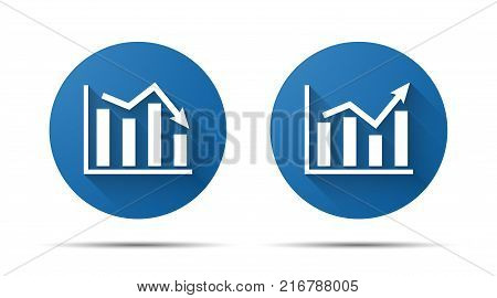 set of blue flat icon of graph on a white background