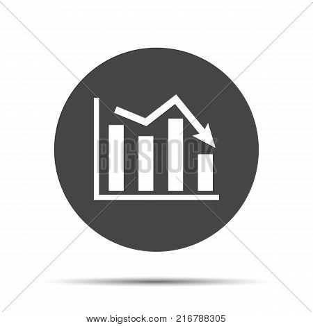 flat icon of graph going down on a white background