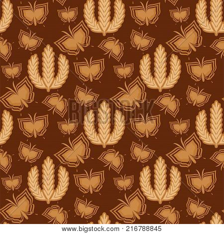 Rye wheat harvest field crop cereal bread vector seamless pattern. Ears of golden beautiful nature rural scenery background of ripening ears of meadow rich grain seed concept.