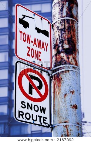 No parking snow route tow away zone