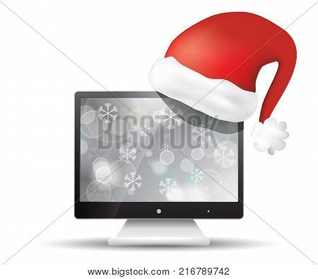 Flat screen tv with santa claus hat isolated on white background