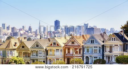 San Francisco Skyline With Famous Painted Ladies Houses, Usa.