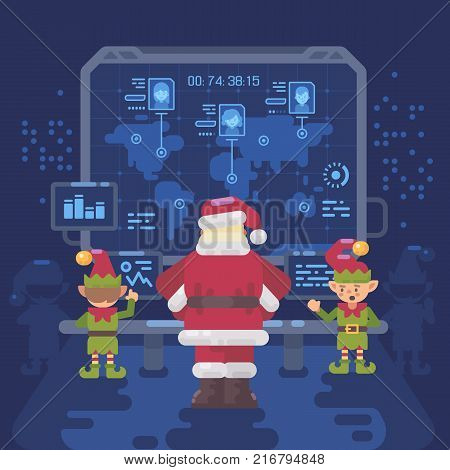 Santa Claus and his elves at Santa's control room looking at a big screen with interactive map of naughty and nice children around the world. Christmas flat illustration