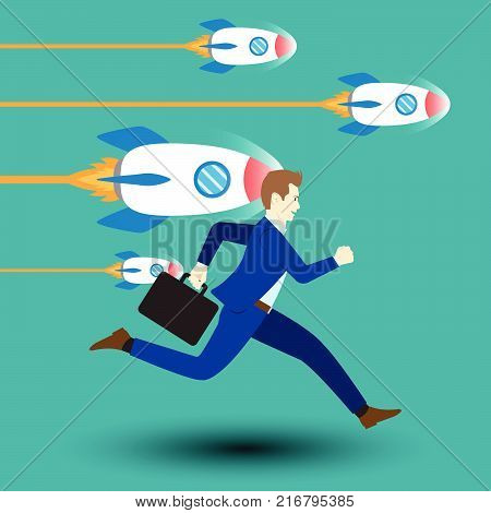 Business Opportunity Concept Designed As A Businessman Is Running Forward In High Speed Along With Dashing Rockets. He Starts Up To New Opportunity With Full Motivation Attempt And Encouragement.