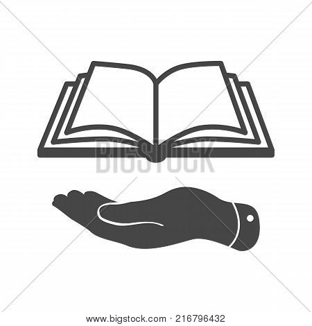 flat hand giving the book icon - vector illustration
