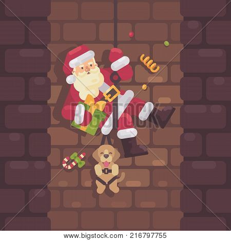 Santa Claus rappelling down the chimney with a dog and a present in hand. Christmas flat illustration