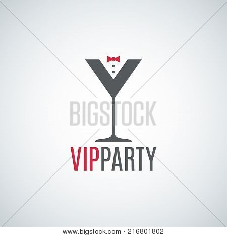 cocktail party glass logo. Vip party design background 10 eps