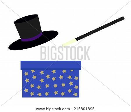 magician magic wand blue bow with stars and wizard black hat isolated on white simple flat vector illustration
